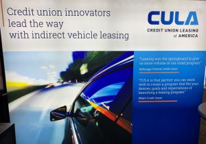 "The new CULA booth - ""Credit union innovators lead the way with indirect vehicle leasing"""