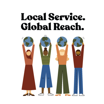 "Logo for International Credit Union Day 2019. Text reads ""Local Service. Global Reach."" Four people, each holding a globe aloft."